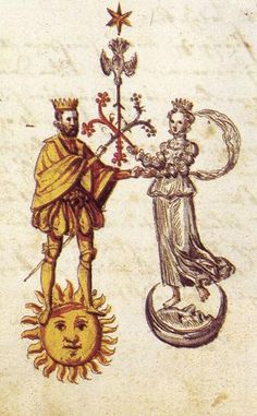 Marriage of sun and moon. In alchemy there is no creation without the union of opposites.