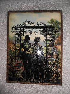 """BEAUTIFUL VINTAGE REVERSE PAINTED CONVEX GLASS SILHOUETTE PICTURE 6"""" x 8"""""""