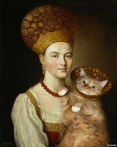 Russian artist Svetlana Petrova re-imagines classic art masterpieces with the very welcome addition of her fat Ginger Cat. Portrait of an Unknown Woman in Russian Costume based on Ivan Argunov