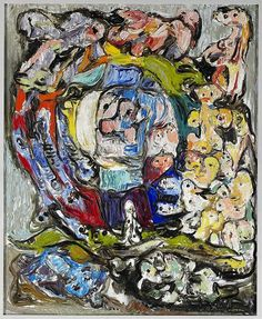 "Asger Jorn: Livshjulet. (Wheel of Life) 1953. Opus 4. 130,7 x 105,2 cm. Olie på masonit. Tilhører Silkeborg Bibliotek. © Donation Jorn, Silkeborg Kunstmuseum. | ""In the period 1951-53 Jorn worked several times with the theme of life wheel. He says that it was a theme that straightforwardly symbolized what he had been through: ""Wheel of Life"" was the first picture I painted after I had been healthy."""""