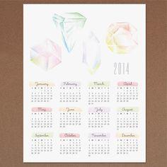 Très beau calendrier à imprimer Gemstone Calendar 2014 www.lovevsdesign.com