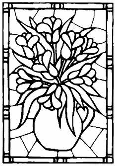 Květiny – vitráž Adult Coloring Book Pages, Animal Coloring Pages, Free Coloring Pages, Coloring Books, Glass Painting Patterns, Stained Glass Patterns, Mosaic Patterns, Faux Stained Glass, Stained Glass Projects