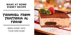 Disney Recipe: Classic Italian Tiramisù From Trattoria al Forno Disney Themed Food, Disney Food, Disney Diy, Disney Parks, Yummy Treats, Delicious Desserts, Yummy Food, No Bake Desserts, Dessert Recipes