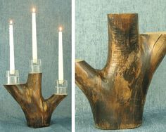 Aspen branch candle holder. Section of Aspen tree made into rustic centerpiece or candle holder. Coated with glossy polyurethane. || Cabin decor