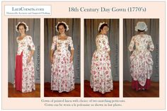 Reproduction 18th century gown of printed linen  by LaraCorsets