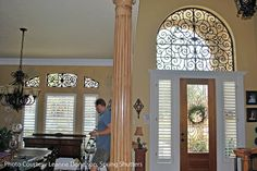 custom drapes for arched window | faux iron window treatment the decorative iron window inserts look ...