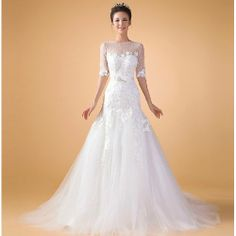 Unique Ivory White Beaded Short Sleeve Lace Bridal Wedding Gown Dress SKU-118336