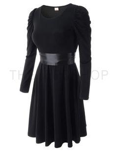 (WESD961-BLACK) Womens Slim Crew Neck Waist String Stretchy Long Sleeve Shirred Dress