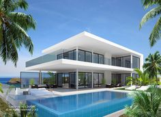 Modern design Villa in La Alqueria Modern Architecture House, Architecture Design, Modern Villa Design, Luxury Homes Dream Houses, House Layouts, Exterior Design, Future House, Investment Property, Spain