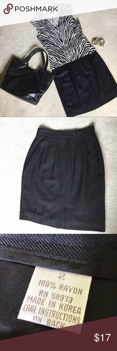 "Best Little Black Skirt Ever This is a wardrobe must have!  A few basics will expand your look a dozen times over.  Fully lined, 19.25"" long.  Dry cleaning is always recommended before wearing. Skirts"