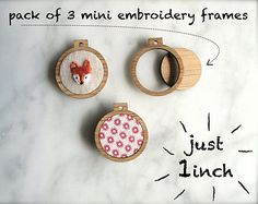 Your favourite miniature embroidery frame now comes in gorgeous sparkly pink glitter...  Set of 3 tiny ornamental embroidery hoop frames.  Each frame measures 1 inch in diameter. Features:  - Made from stunning one-sided pink glitter perspex.  - 1.5mm hanging hole. - Inner opening measures 2.2cm in diameter.  Note that fabric cannot be embroidered whilst set in the frames. These frames are absolutely tiny. They are ornamental.  You can either embroider some fabric in a larger hoop then put…
