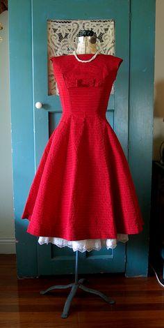 Impresionante vintage 50s vestido de rojo X-small cóctel