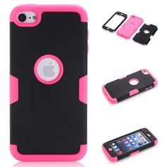 iPod Touch 6 Case,iPod Touch 5 Case, VPR 3 in 1 Shock Absorbing Case, Rubber Combo Hybrid Impact Silicone Armor Hard Case Cover for Apple iPod touch 5 6th Generation (Black+Rose)