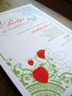 Strawberry Butterfly Invitation by SpillingBeans on Etsy, $1.50
