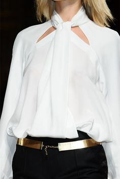 great dressy blouse with fab gold belt and pencil skirt, or beautiful flowing pants instead of a dress to mix things up a bit!