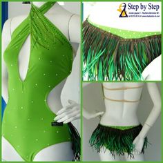 Abito in lycra opaca verde e piume  con decorazione strass  #stepbystep #salsa #bachata #strass  #verde #green  #rhinestones #latindress #salsadress #piume #feather