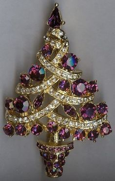 Breathtaking Christmas Tree Brooch Pin - Purple & Clear Swarovski Rhinestones | eBay