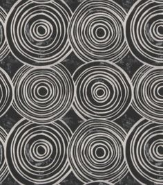Concentric overlapping circles with distressed accents.  Cool modern design. Content: 100% Cotton Width: 55 Inches Fabric Type: Print Upholstery Grade: Heavy Upholstery Horizontal Repeat: 13.5 Inches