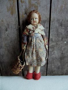 """Vintage Cloth Doll with Basket, Fabric, Painted, Possibly German, Braids, Folk Art, World, 9"""", Woman,Girl,Traditional Dress,Costume,Souvenir by BarefootAndCivil on Etsy"""