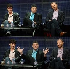 Benedict Cumberbatch, Stephen Moffat, and Mark Gatiss. Love Ben's smile.