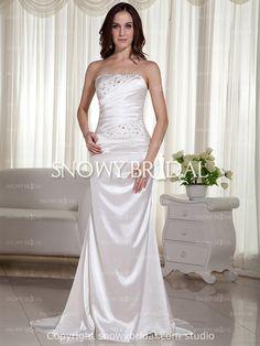 Corset+Trumpet+Style+Bridal+Gown | Trumpet Long Satin Beaded Strapless Corset Asymmetrical Wedding Dress ...