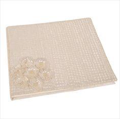Wedding photo album sequins beads white satin 26x24cm Shared Earth fair trade