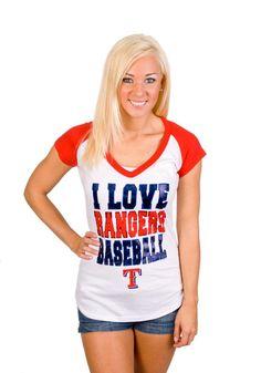"Texas Rangers Women's ""I Love Rangers Baseball"" Shirt"