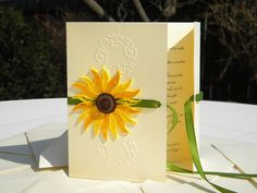 Elegant sunflower wedding invitation  quilling by ancamilchis, $4.00