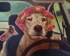 Lucia Heffernan | OIL | Mommy Chauffeur Animal Activities, Dog Paintings, Dog Art, I Love Cats, Watercolor Art, Funny Animals, Graffiti, Pet Humor, Road Trippers