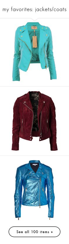 """my favorites: jackets/coats"" by shelbyvengeance ❤ liked on Polyvore featuring outerwear, jackets, coats, tops, shirts, coats & jackets, cherry, womens-fashion, red jacket and leather biker jacket"