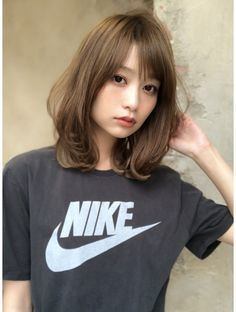 Pin on 髪型 Kawaii Hairstyles, Hairstyles With Bangs, Girl Hairstyles, Medium Hair Styles, Short Hair Styles, Bob With Bangs, Perm, Pretty Face, Wigs