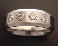Custom Tungsten Carbide and Diamond Mens Band with Carbon Fiber Inlay on Sides