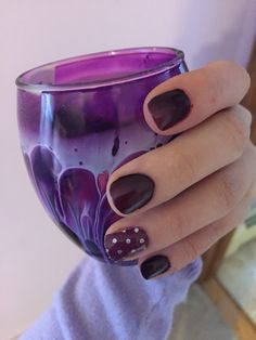 Purple nails with jamberry boysenberry polka on the ring fingers Dinnerware Inspiration, Purple Nails, Jamberry Nails, Ring Finger, Fun Nails, Diamond Jewelry, Berries, Nail Designs, Chocolate