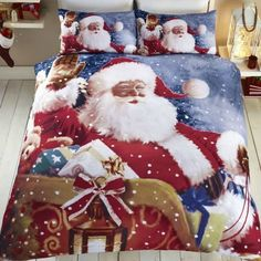 From Tony\'s Textiles Santa Claus Sleigh Father Christmas Quilt Duvet Cover Bedding Set (single) Christmas Colors, Christmas Fun, Father Christmas, Duvet Sets, Duvet Cover Sets, Snowman Quilt, Santa Claus Christmas Tree, Christmas Bedding, Quilt Cover