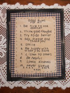 Hey, I found this really awesome Etsy listing at http://www.etsy.com/listing/156510224/primitive-stitchery-good-rules-for