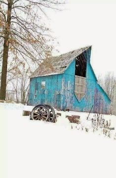 You don't see blue barns very often. Farm Barn, Old Farm, Barn Pictures, Winter Pictures, Country Barns, Country Living, Country Blue, Barns Sheds, Red Barns