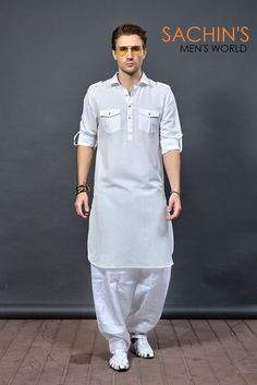 Buy latest Pathani set for Eid 2019 ! This white color Pathani set features from cotton fabric, two flap laple on shoulder, two chest pocket with flap. It comes with white color pathani salwar. Wedding Kurta For Men, Wedding Dress Men, Wedding Men, Mens Indian Wear, Indian Men Fashion, Mens Fashion, Kurta Pajama Men, Kurta Men, Designer Kurtis