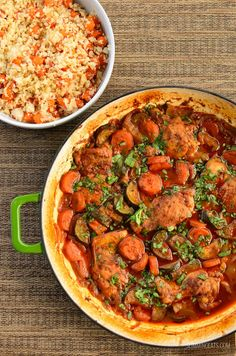 Delicious Low Syn Moroccan Chicken Casserole - tender chicken thighs with vegetables in an flavoursome sauce.