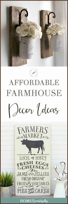 These affordable DIY farmhouse ideas are perfect for decoration on a budget for your home. Add a rustic, cozy charm with a vintage, even boho feel to your master and guest bedroom, living room, or walls. Easy, fun, and inexpensive! #farmhouse #decorating Similar ideas: farmhouse decor diy   farmhouse decor on a budget   farmhouse decor living room   farmhouse decor bedroom   rustic farmhouse decor ideas   fixer upper decor ideas