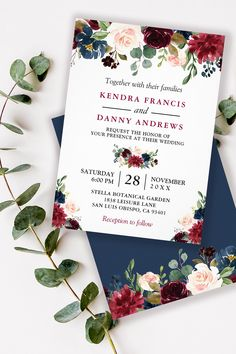 Front Only Modern Romantic Flowery Gray Opaque Wedding Invitation With Pictures