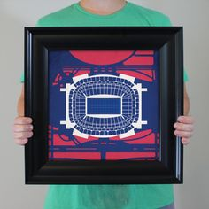 Map art print including the aerial view of NRG Stadium located in Houston, Texas.