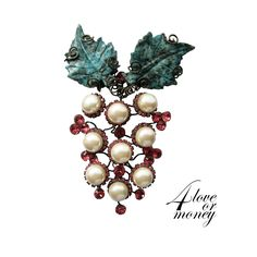 Gorgeous signed Larry Vrba huge faux pearl & garnet crystal grape brooch available at our store 4loveormoney http://www.rubylane.com/item/1337712-VRB-001/Gorgeous-signed-Larry-Vrba-huge-faux78