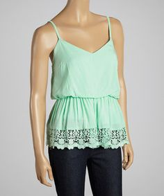 Dani Collection Mint Lace Sleeveless Empire Waist Top by Dani Collection #zulily #zulilyfinds