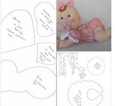 Felt Doll Patterns, Easy Sewing Patterns, Stuffed Toys Patterns, Bear Felt, Felt Baby, Baby Shower Crafts, Baby Crafts, Felt Dolls, Baby Dolls