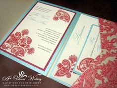 Red and turquoise wedding invitation with paisley pocketfold design. By A Vibrant Wedding.