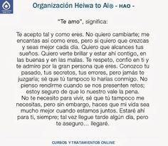 TE AMO significa... CURSOS DE TERAPIAS (Reiki Heiwa to Ai, Chi Kung, Mindfulness,...) http://cursoshao.blogspot.com.es/ Organización Heiwa to Ai -HAO Por un mundo pacífico y feliz