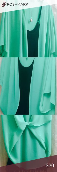 """👗COVER-UP Gorgeous Boho On-Trend Style One Size🌹 🌹Cover-up by Style Rack Gorgeous Seafoam Green -- One Size Fits Most🦋. I recommend for Sz Med & Up. So On Trend, BOHO style! EUC! Goes great w/ so many things-👗💐 from jeans to little black dress to shorts to swimsuit..it's a great Wardrobe staple & travels well😊 L = 30"""". Batwig style loosely flowing sleeves with large arm holes. Smoke-Free Fashion Loving Posher🌹 Style Rack Tops"""