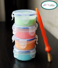 DIY bath paint!  What you'll need (this was enough to make 4 containers):    1 cup baby bubble bath or body wash - as long as it is clear/white  4 tbsp cornstarch  a few drops of food colouring  small containers with lids