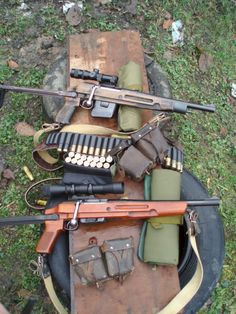 Bolt Gauge An interesting pair of bolt-action shotguns that are magazine fed. Note the AK underfolding stock. Maybe someone knows the exact models or these could be custom builds; there is speculation that these are heavily modified Mosin Nagants Weapons Guns, Guns And Ammo, Zombie Weapons, Survival Rifle, Battle Rifle, Custom Guns, Cool Guns, Firearms, Shotguns