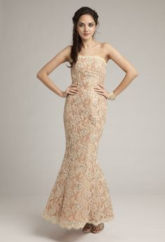 Lace Mermaid Long Dress with Scalloped Edge from Camille La Vie and Group USA